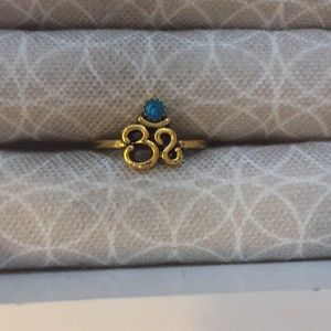 Teal Rhinestone Om Gold Plated Ring